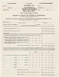 1913 Income Extortion form